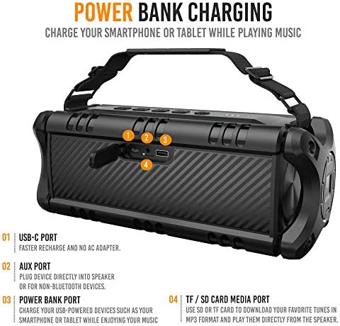 [Upgraded] Waterproof Bluetooth Speaker 60W (80W Max), Portable, Wireless, 8000mAh Power Bank, Shockproof, TWS, DSP, Stereo, Subwoofer, TF Card, Equalizer, Alpatronix AX500, Indoor & Outdoor – Black 51xVSbYgN9L