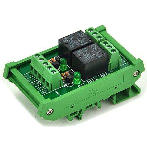 ELECTRONICS-SALON DIN Rail Mount 2 SPDT Power Relay Interface Module, 10A Relay, 24V Coil.