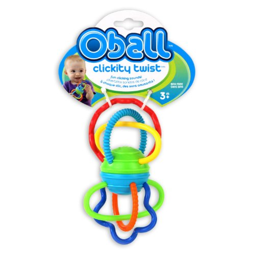 Oball Clickity Twist Toy, Blue, Orange, Green, Yellow