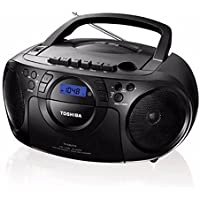Toshiba Portable Boombox CD/USB Radio Cassette Tape Recorder MP3 Playback Digital Sound AM/FM Radio, Headphone Terminals and Remote - 110V-240V Worldwide Use (TY-CKU310K)