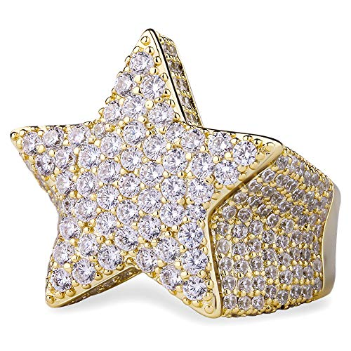 KRKC&CO Ice Out Rings, 5-Pointed CZ Star Rings, Prong Setting 5A CZ Stone Rings, Solid No Tarnish Rapper Urban Street-wear Hip Hop Rings Size 8 9 10 for Wedding Engagement Party Band (Gold, 8)
