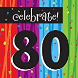 16-Count Paper Lunch Napkins, Celebrate 80, Milestone Celebrations