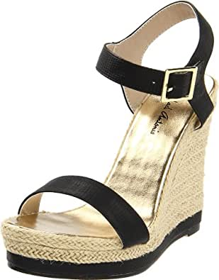 Michael Antonio Women's Goldy-Rep Wedge Sandal,Black,5 M US