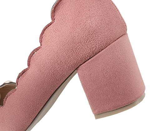 Odomolor Women's Pull-On Frosted Pointed-Toe Kitten-Heels Solid Pumps-Shoes Pink RqVFyM3