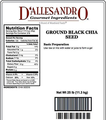 Ground Black Chia Seed, 25 Lb Bag