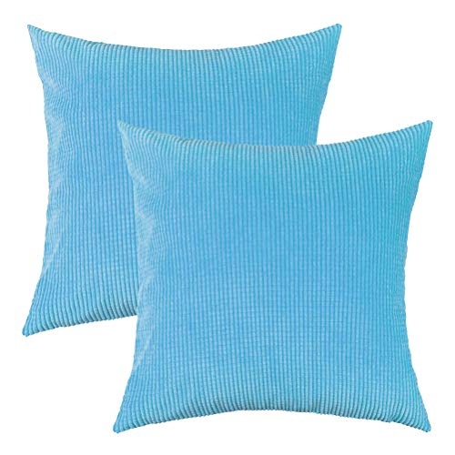 U-LOVE Pack of 2 Throw Pillow Covers Solid Supersoft Corduroy Corn Striped Cushion Cases 18 X 18 Inches for Couch Sofa Bed (Baby Blue)