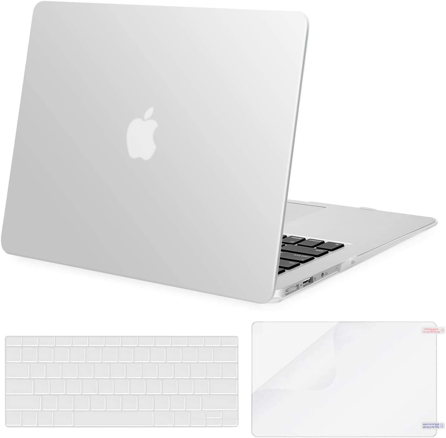 MOSISO Plastic Hard Shell Case & Keyboard Cover & Screen Protector Only Compatible with MacBook Air 13 inch (Models: A1369 & A1466, Older Version 2010-2017 Release), Frost