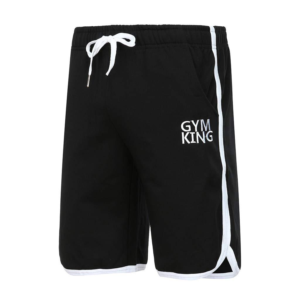 Fanteecy Men's Quick Dry Workout Running Shorts Bodybuilding Gym Workout Shorts Active Training Shorts Drawstring Summer Black