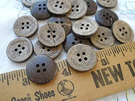 19MM Etched Anchor Coconut Shell Buttons 4 Hole sew on 12 Each 30L 3/4