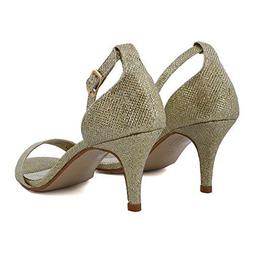 ESSEX GLAM Damen Diamant Fesselriemen Stilett Peep Toe Glitzerstaub Sandalen Gold Glitzerstaub