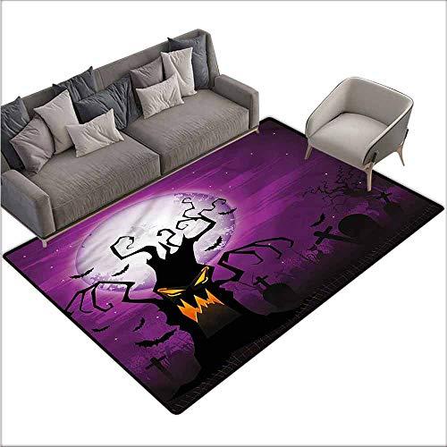 Bathroom Carpet Halloween,Human Face and Twiggy Arm 48