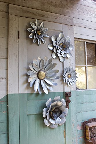 Galvanized Flower - Kalalou Galvanized Metal Flower Wall Hangings, Set of Five