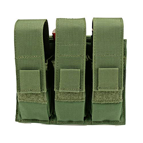 Triple Pistol Magazine Pouch, Nylon, MOLLE Compatible, Hand-Gun Mag Holder Suitable for Both Single and Double Stack (17,19, 43, 45, 21, 1911) Multitool, Flashlight and Folding Knife (Olive Drab)
