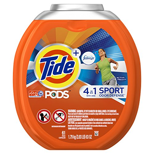 Tide PODS Plus Febreze Sport Odor Defense 4 in 1 HE Turbo Laundry Detergent Pacs, Active Fresh Scent, 61 Count Tub, PACKAGING MAY VARY by Tide