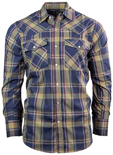 (Canyon Guide Men's Long Sleeve Plaid Western Shirt | Easy Open Snap Front (Large, Tan/Navy (610)))