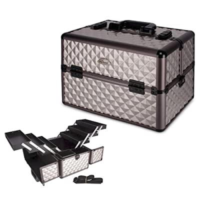13 inch Textured Pattern 6 Extendable Trays Aluminum Professional Makeup Artist Cosmetic Storage Carrying Travel Train Case + Shoulder Strap