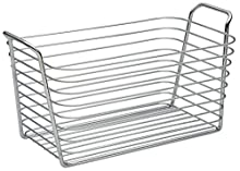 iDesign Classico Cesta Mediana, Metal, Plata, 19x34x17