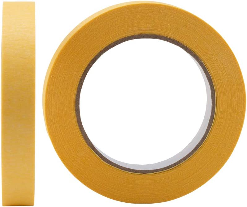 Lichamp 10-Pack Automotive Refinish Masking Tape Yellow 18mm x 55m Automotive Painters Tape Bulk Set 0.7-inch x 180-foot x 10 Rolls Cars Vehicles Auto Body Paint Tape