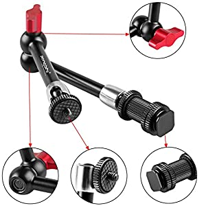pangshi 11-inch Aluminum Alloy Adjustable Articulating Friction Magic Arm and Flexible Large Super Clamp Kit for Camera /Camcorder /DSLR Rig Movie Kit /LCD Monitor /LED Lights /Flash Light /Microphone