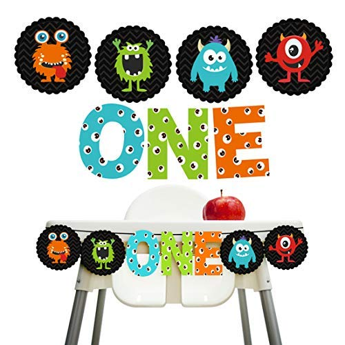 KREATWOW Monster Bash 1st Birthday - Monster First Birthday Banner - Little Monster High Chair Banner Decorations