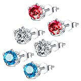Mabella Sterling Silver Round Shape Simulated Birthstone Gemstone Earrings Studs Cubic Zirconia for Women