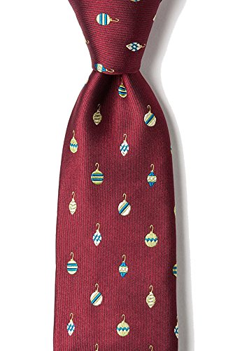 Novelty Alynn Ties Red Silk (Men's 100% Silk Christmas Tree Ornaments Holiday Novelty Necktie Tie Neckwear (Burgundy Red))