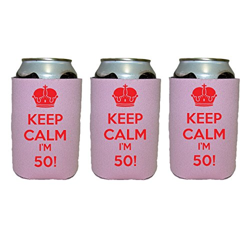 Scuba Foam - Keep Calm I'm 50! - 3-Pack Scuba Foam Can Coolers/Coolies (Pink With Red Print,)