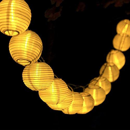 InnooTech Solar Lichterkette Lampion 30er LED 6 Meter Laterne Gartenbeleuchtung Innen- und Außenbereich mit Batteriehalter für Deko, Feiern ,Garten, Terrasse, Hof, Haus, Weihnachtsbaum warmweiß