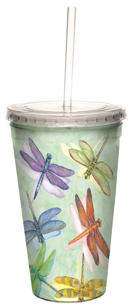 Tree-Free Greetings Insulated Travel Drink Tumbler with Straw, 16 oz, Dragonflies