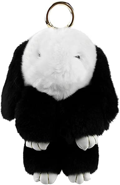 Real Rabbit Fur Doll Keychain for Womens Bag Charms or Car Pendant Key Ring