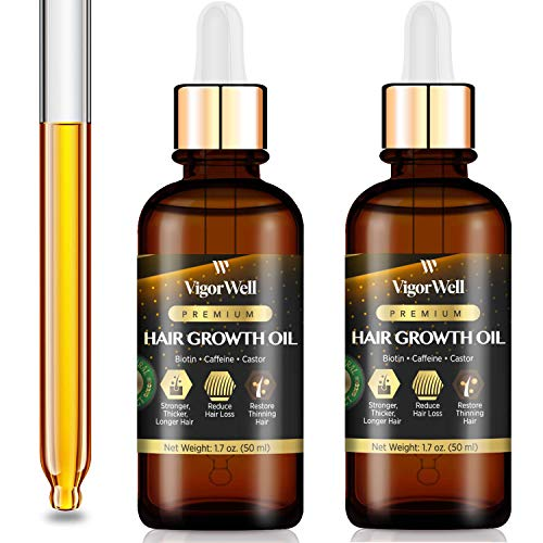 Hair Growth Oil Natural with Caffeine, Biotin and Castor 2 Pack - Hair Growth Oil for Stronger, Thicker, Longer Hair 1.7 oz