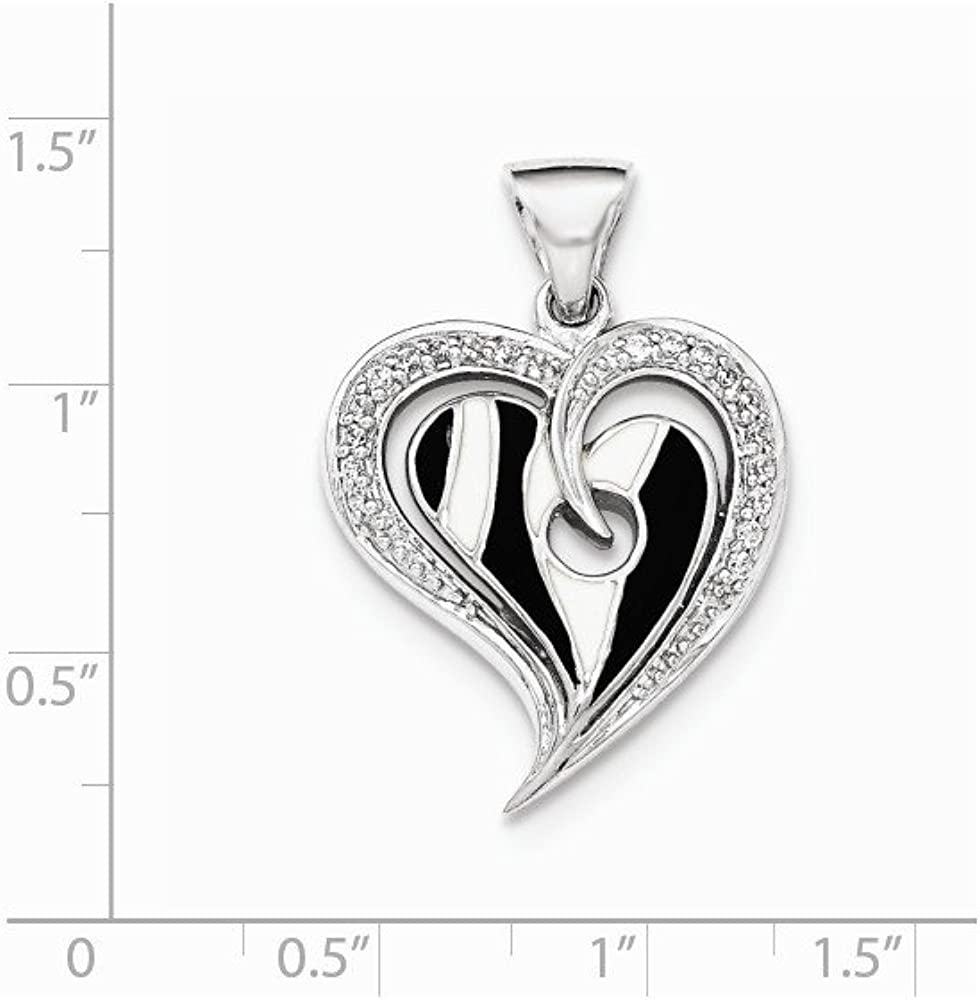 FB Jewels Solid 925 Sterling Silver Polished Heart Black And White Enamel Cubic Zirconia CZ Pendant