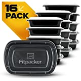 Meal Prep Containers by Fitpacker - Plastic Microwavable Stackable Reusable, Dishwasher & Freezer Safe - Lunch Box, Portion Control & Food Storage - Made in the USA (28oz - Set of 16)