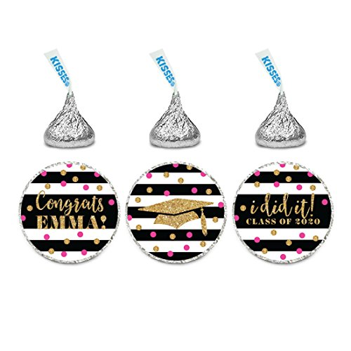 Andaz Press Fuchsia, Black and Gold Glittering Graduation Party Collection, Personalized Chocolate Drop Label Stickers Trio, 216-Pack, Custom Name, Fits Hershey's Kisses Party Favors