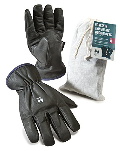 Lined Leather Driver (Insulated Work Gloves. Dark Grey Goatskin Leather Gloves Lined with 3M Thinsulate. For Men and Women - see Size Chart pictured at)