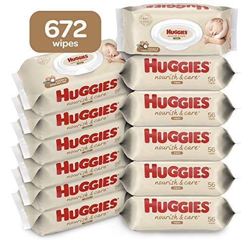 Huggies Nourish and Care Baby Wipes, Scented, Water-Based, 12 Flip-top Packs of 56 (672 Wipes Total), 672 Count