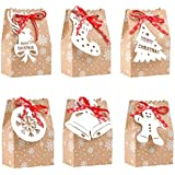 MINILIFE Christmas Goodies Bags with Snowman Stocking Christmas Tree Reindeer Snowflake Tags and Ribbon Kraft Gift Bags for F