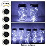 5 Pack Mason Jar Lights, 10 LED Solar Cold White Fairy String Lights Lids Insert for Garden Deck Patio Party Wedding Christmas Decorative Lighting Fit for Regular Mouth Jars