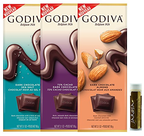 Godiva Dark Chocolate Lover's Tasting Set - 3 Tablet Bars: Dark Sea Salt, Dark Chocolate & Dark Almond with a Jarosa Bee Organic Chocolate Lip Balm by Jarosa Gifts