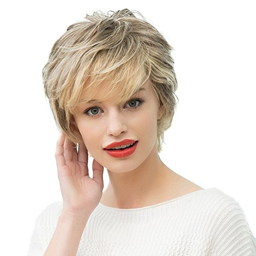 Topwigy Women's Human Hair Wigs Short Cool Stylish Natural Wave Mixed Colors Human Hair Replacement Daily Costume Wigs+ Wig Cap (As the pictures show)