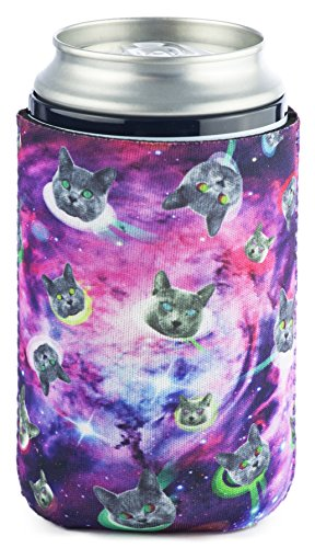 Funny Guy Mugs Space Cat Collapsible Neoprene Can Coolie - Drink Cooler (Last Mission Insulated Jacket)