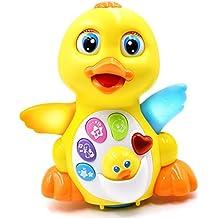 toyk Kids Toys Pato musical juguete sonido luz Acción con ajustable–Juguetes para niñas y niños–o Toddlers, Amarillo