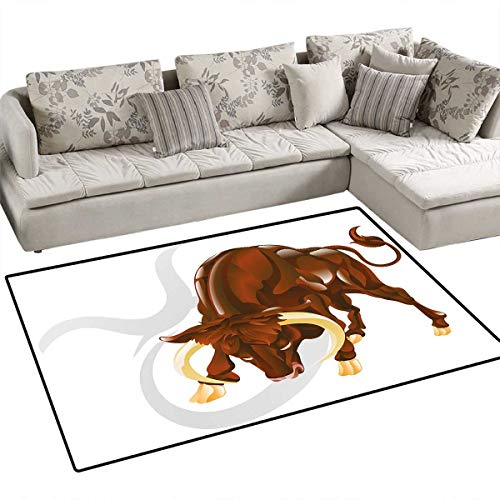Taurus Floor Mat for Kids Angry Bull Birth Sign Astrology Animal Icon Cultural Western Spirituality Graphic Bath Mat Non Slip 55