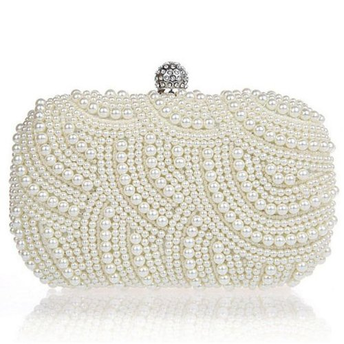 Women Glamour Beaded Hard Case Chain Bag Evening Wedding Party Clutch Purse Wallet Handbag ()