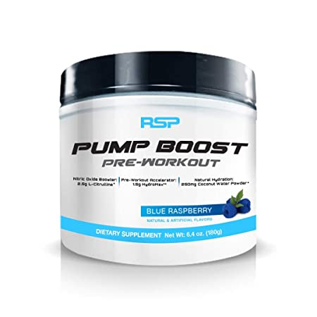RSP Pump Boost – Stimulant Free Pre Workout Nitric Oxide Booster, N.O. Boost for Enhanced Pumps, Energy Boost, and Improved Training Endurance, Blue Raspberry, 1 Month Supply