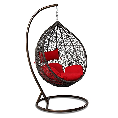 THeCORP Garden Decor Hand Woven Wickers Single Hanging Swing Chair With Cushion For Indoor And Outdoor (Brown Wicker, Red Cushion) - Hand Woven Furniture