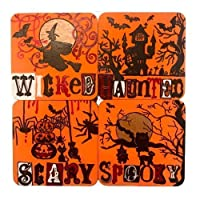 Colorful Spooky Halloween Designer Wooden Coaster Set (4 coasters, each 3.5 x 3.5 Inches) - Halloween Party Decoration