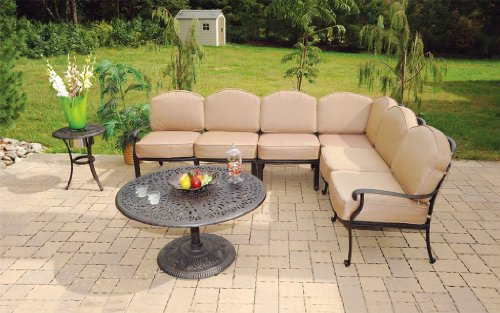 (Heritage Outdoor Living Cast Aluminum Elisabeth Sectional with 36 round coffee table- Antique Bronze )