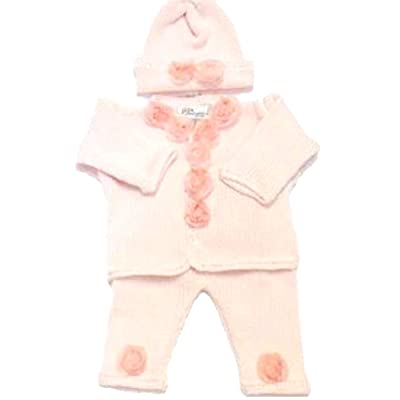 Bubu Knitted & Crochet Finished Pink Cotton Sweater Pant Hat With Chiffon Roses (6-12 MO)