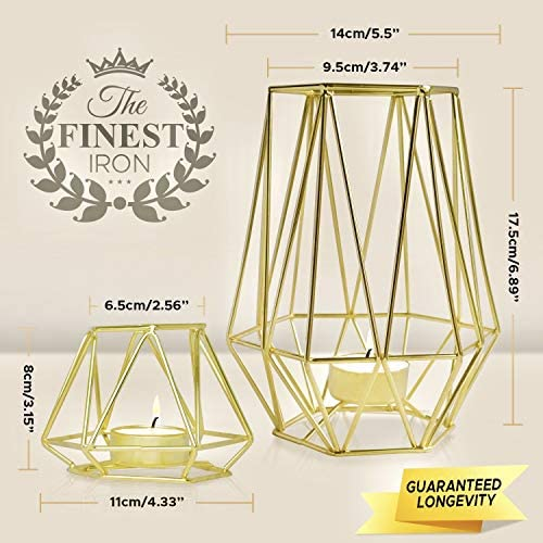 HÖKI+ Set of 2 Gold Geometric Metal Tealight Candle Holders for Living Room & Bathroom Decorations - Centerpieces for Wedding & Dining Room, Coffee Side Tables Decor - Holiday & Birthday Gifts 7